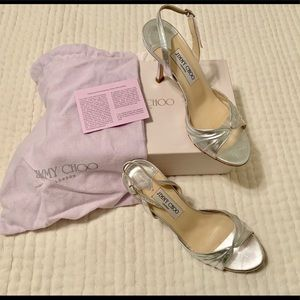 Jimmy Choo Silver Sandals; size 38.5